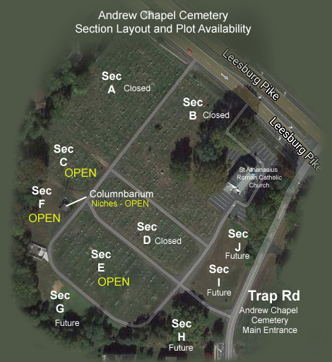 Andrew Chapel Cemetary Lot Layout